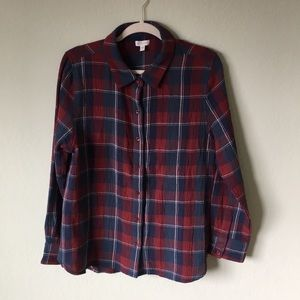 Garnet Hill Button Down Top Check Size 12